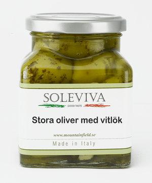 Stora oliver med vitlök