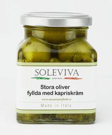 Stora oliver fyllda med kapriskräm